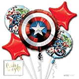 Andaz Press Balloon Bouquet Party Kit with Gold Cards & Gifts Sign, Avengers Foil Mylar Balloon Decorations, 1-Set, Captain America Superheroes Boys Kids Birthday Party Supplies