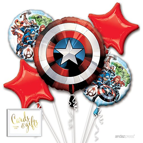 Andaz Press Balloon Bouquet Party Kit with Gold Cards & Gifts Sign, Avengers Foil Mylar Balloon Decorations, 1-Set, Captain America Superheroes Boys Kids Birthday Party Supplies -