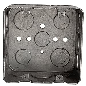 Steel City 2G4D 1/2 3/4 Pre-Galvanized Steel Double Gang Square Box with 1/2-Inch and 3/4-Inch Knockouts