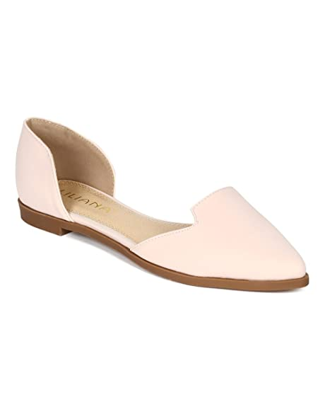 CD78 Women Nubuck Pointy Toe Slip on Venetian Loafer Flat