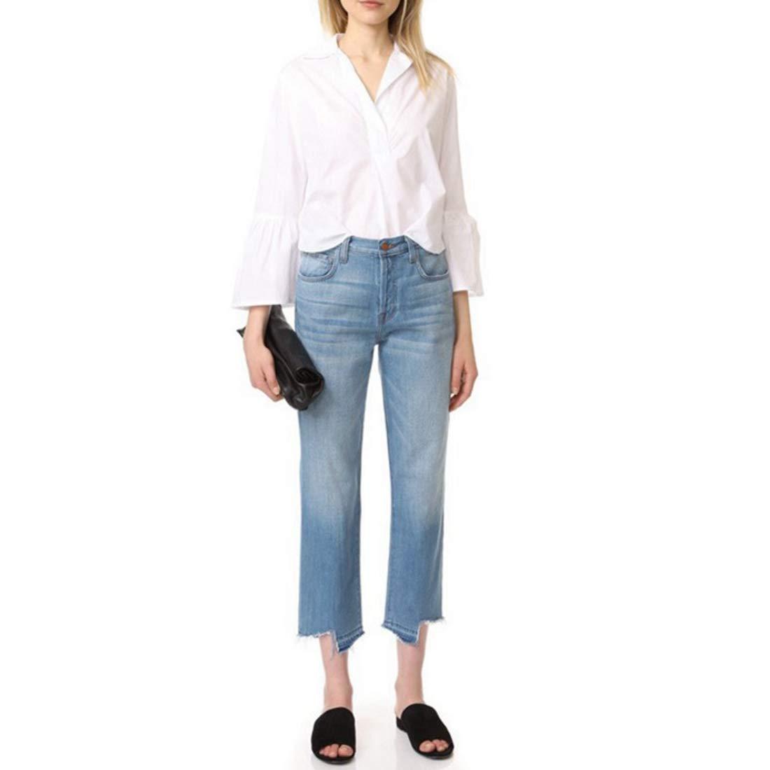 bluee Kirabon Autumn and Winter Trousers Step Irregular Trousers Boyfriend Light bluee Super high Waist Straight Jeans (color   bluee, Size   29)