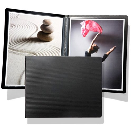 Prat Start SP Presentation Pressbook, Black Padded Cover with 12 Heat-Sealed Sheet Protectors, 10 X 8.5 inches, Black (SP-11)