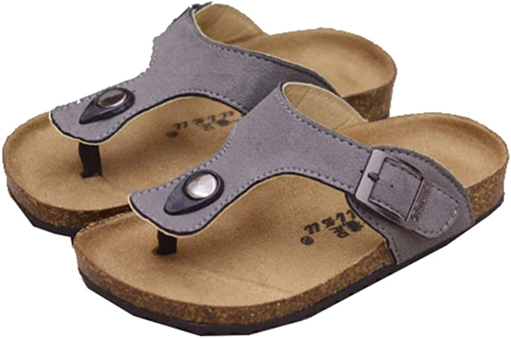 AGOWOO Boys Girls Soft Wood Cork Beach Thong Sandals