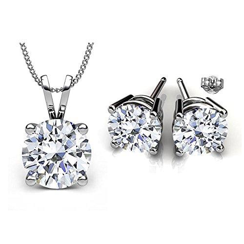 Swarovski Crystals April Birthstone Crystal Stud Pendant & Earrings Set (Rhodochrosite Pendant Set)