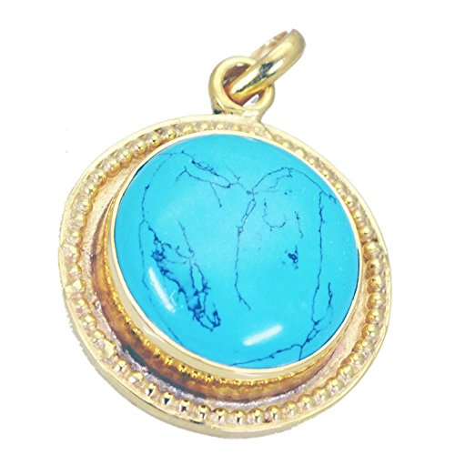Jewelryonclick Genuine Turquoise Pendant Yellow Gold Plated Birthstone Charms for Women Necklace ()