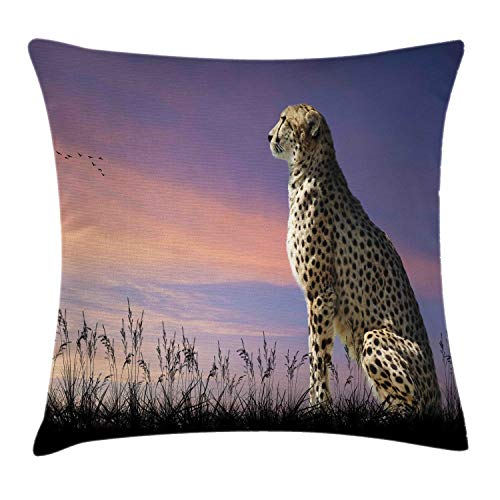 Lunarable Cheetah Throw Pillow Cushion Cover, African Safari Concept Image of Cheetah Looking Out Over Savannah with Sunset Sky, Decorative Square Accent Pillow Case, 28 X 28 Inches, Multicolor