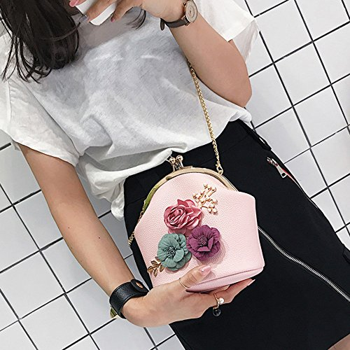 Shoulder Small Pink ZOMUSA Flowers Purse Stereo Fashion Ladies Tote Bag Clearance Hpqw1Eq