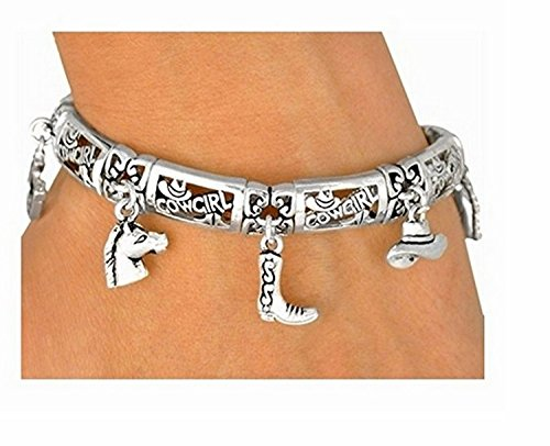 Polished Silver Finish Cowgirl Magnetic Clasp Charm Bracelet by Lonestar Jewelry