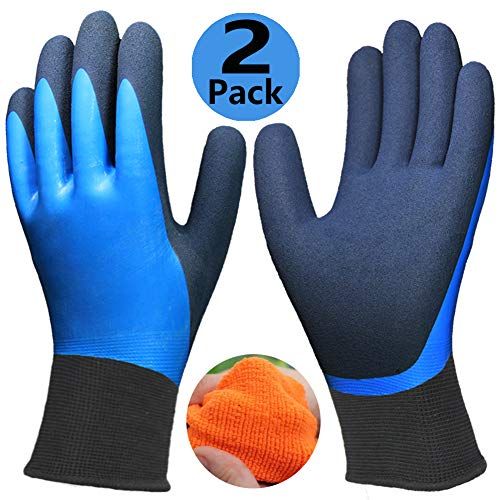 Waterproof Thermal Gloves (Cold Weather Work Gloves 2 Pack, Double Coating Superior Grip Water-Proof Winter Gloves, Polar Fleece Liner Warm Comfortable for Outdoor Garden Auto Fishing Ice Snow Activities.)