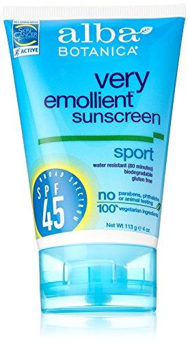 Alba Botanica Very Emollient, Sport Sunscreen SPF 45, 4 Ounce