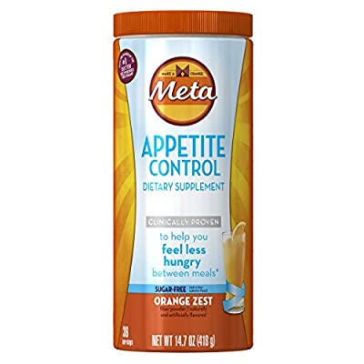 Metamucil Daily Appetite Control ,Orange Zest Sugar Free Fiber Appetite Suppressant, 36 Doses