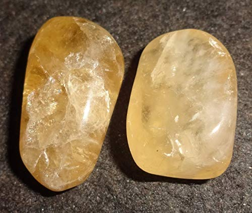 Topaz Golden from Nigeria 2pc Set Natural Healing Crystal Gemstone Tumbled. Polished, Natural Markings, Collectible , Display Wrapping Stones