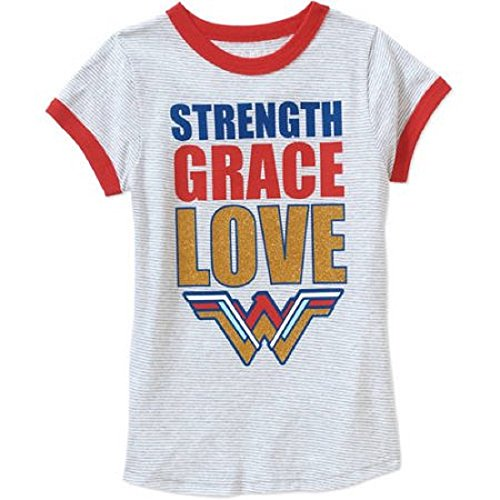 Wonder+Woman+Shirts Products : Wonder Woman Girls' Strength Grace Love Striped Graphic T-Shirt
