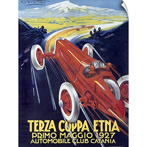CANVAS ON DEMAND Terza Coppa Etna, Auto Road Rally, Vintage Poster, by Franco Codognato Wall Peel Art Print, 36