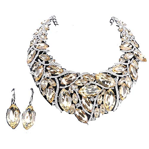 African Beads Jewelry Sets Women Bridal Crystal Statement Necklace Earring Jewelry Sets (Silver Champagne)