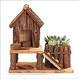 Dowonsol Wooden Handmade House Flowerpot Handcraft Succulent Planter Flower Container Yard Home D¨¦cor