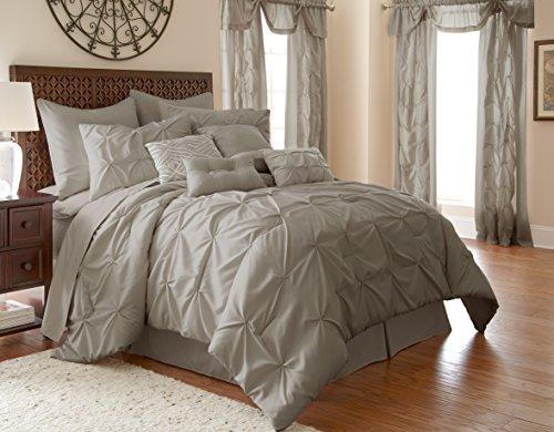 Amrapur Overseas Aurora Pintuck 24-Piece Reversible Bed in A Bag, King, Grey
