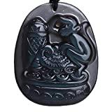 "Natural Ice kind of rainbow eye Obsidian ""Cicada / Monkey contend""Pendant Amulet Mascot"