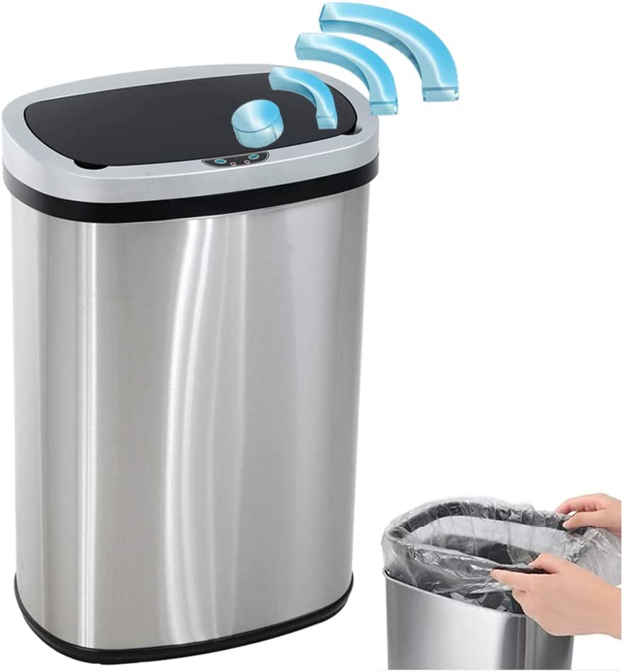 Stainless Steel Garbage Trash Can 13 Gallon 50l Kitchen Trash Can Touch Free Automatic Sensor Trash Bin With Lid Home Bathroom Office Restroom Brushed Large Dustbin Silver Home Kitchen