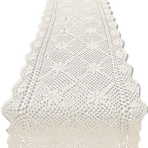 KEPSWET 14x36 inch Beige Cotton Crochet Lace Rectangular Table Runner Handmade Table Decoration