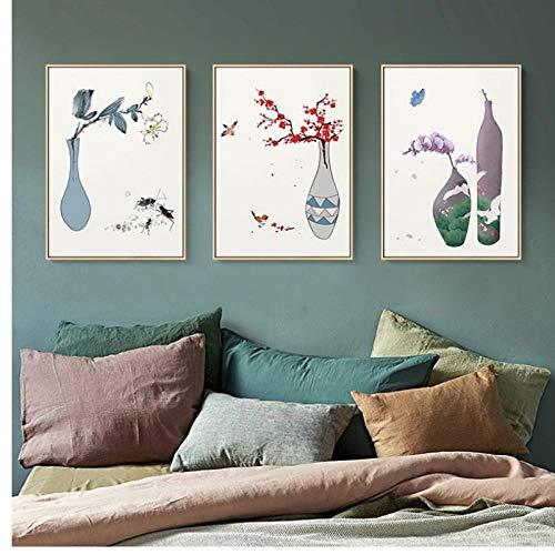 Famoso jarron flores lienzo pintura mariposa pajaro carteles e impresiones moderno abstracto arte de la pared imagen para sala de estar 43x60cmx3 (sin marco)