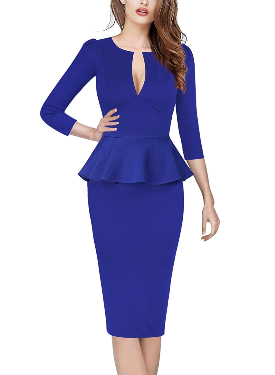 Bright bluee Plunge VfEmage Womens Sexy V Neck Party Cocktail Work Slim Fitted Pencil Bodycon Dress