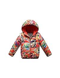 kids Boy Girl Hooded Cartoon Down Jacket Winter Warm Coat Outwear