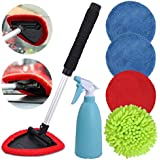 eFuncar Car Windshield Interior Exterior Cleaning Tool Kit Auto Window Inside Glass Microfiber Windshield Cleaner Wand with 5 Microfiber/Coral Fleece/Chenille Pads Bonnets and 450ML Spray Bottle