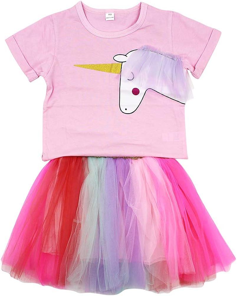 Aibearty Little Girl 2PCS Clothes Set Short Sleeve T-Shirt Colorful Tutu Skirt