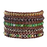 KELITCH Mix Beaded with Metal Bead Bracelet on Leather 5 Wrap Bracelet Handmade New Top Jewelry (Green)