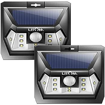 This Item Litom Super Bright 10 LED Solar Light Motion Sensor Light Outdoor  Wall Light Wide Lighting Range With LEDs Both Sides For Door Garden Path  Patio 2 ...