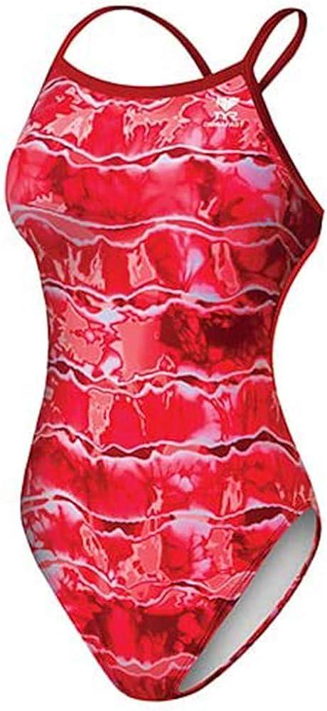 TYR Sport Women's Admiral Tiedye D-fit Diamondback Swimsuit Red