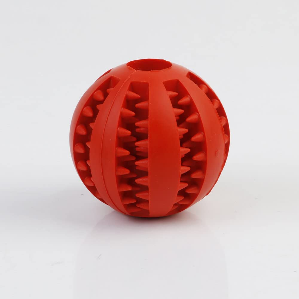Xu Interactive Pet Ball Toys for Dogs & Cats Tooth Cleaning/Chewing/IQ Training/Playing,IQ Treat Ball Food Dispensing Toys of Non-Toxic Soft Rubber Ball-2 Sizes Options (Diameter 7cm, Red)