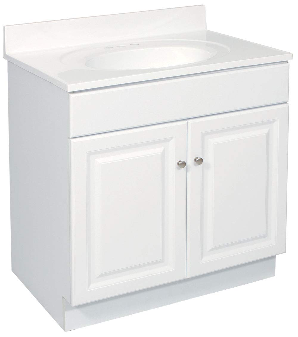 Design House 531947 Wyndham Ready-To-Assemble 2 Door Vanity, White, 30-Inches Wide by 31.5-Inches Tall by 21-Inches Deep