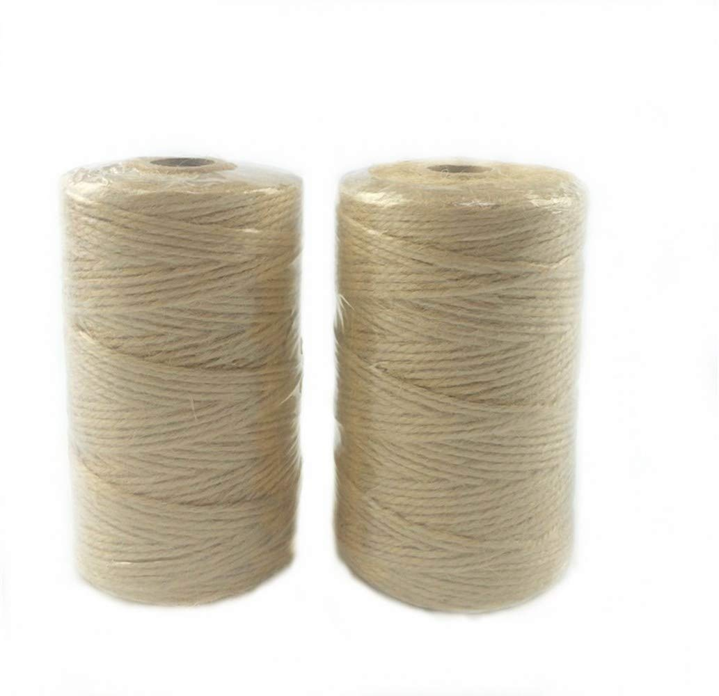 Z&S Groups Natural Jute Twine 720 Feet Twine String Crafts,Gift Twine Gardening,Packing DIY Home Decor Christmas Party Industrial Twine Rope 3 ply 2 pcs