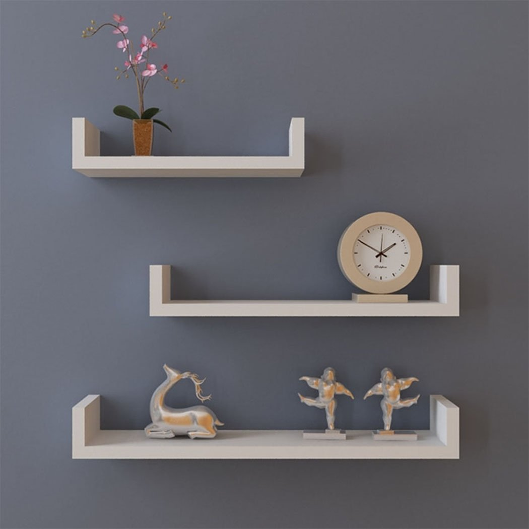 Kaluo Set of 3 Floating U Wall Mount Shelves Display Modern Room and Office Decor(US Stock) (1, White)
