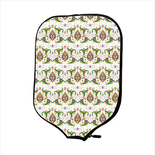Neoprene Pickleball Paddle Racket Cover Case,Floral,Colorful Persian Style Ornament Antique Palmette Flower Petals Pattern Design Illustration Decorative,,Fit For Most Rackets - Protect Your Paddle (Petal Knob Flower Design)
