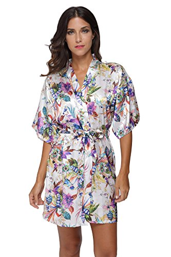 TheBund Short Floral Robes Satin Kimono Robe for Women M