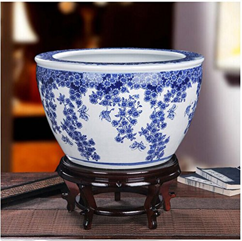J-Beauty Asian Chinese Traditional Ceramic Planter Porcelain Fishbowl Green Flower Porcelain (16.5'' Dia) by j-beauty