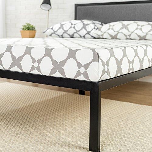 zinus 14 inch platform metal bed frame with upholstered headboard mattress foundation wood. Black Bedroom Furniture Sets. Home Design Ideas