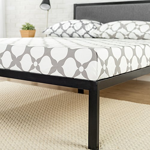 Zinus Korey 14 Inch Platform Metal Bed Frame with Upholstered Headboard / Mattress Foundation / Wood Slat Support, Queen
