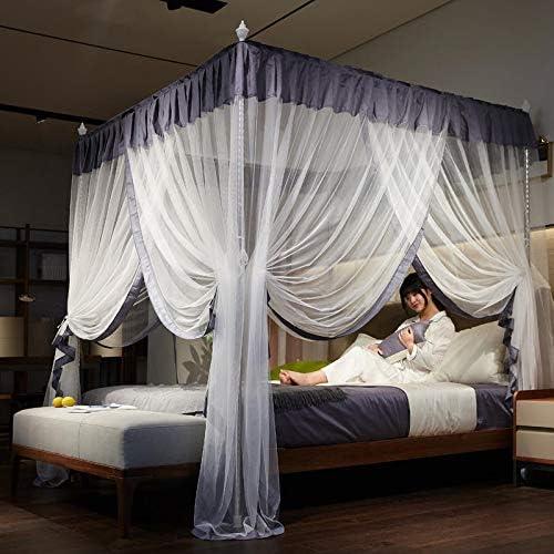 RZJF Mosquitera - Cama Princess Princess Wind Palace Redes de Tres Puertas de Acero Inoxidable Soporte audaz Gris 1.8 * 2.2 m Cama: Amazon.es: Hogar