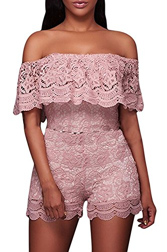 Halfword Womens Off Shoulder Lace Ruffles High Waisted Shorts Rompers Jumpsuits M Pink