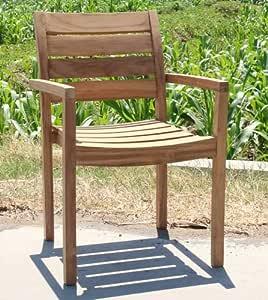 Wohnpalast Jever - Silla de jardín (madera de teca, apilable): Amazon.es: Hogar