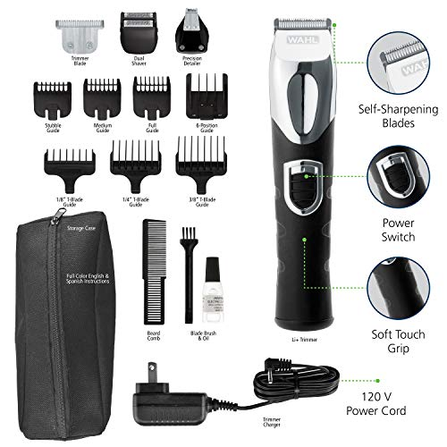 Wahl Lithium Ion All-in-One Beard Trimmer Men's Grooming Kit - Rechargeable Beard Trimmer, Hair Clipper & Electric Shavers – Model 9854-600