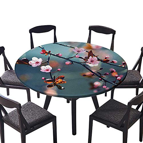 Modern Table Circle Cloth Blooming Cherry Tree Flowers on Branch Sakura Theme Picture Light Pink Orange and Indoor or Outdoor Parties 50