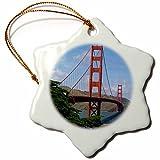 Sandy Mertens Golden Gate Bridge San Francisco Snowflake Porcelain Ornament, 3-Inch