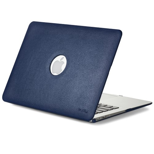 - Kuzy - MacBook Air 13 inch Leather Hard Case for Older Version AIR 13-inch (A1466 & A1369) - Leatherette Cover - Blue