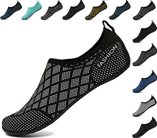 AoSiFu Women's Men's Yoga Barefoot Non-Slip Shoes Outdoor Hot Springs Slip-on Footwear gridsliver 40-41