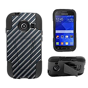 Beyond Cell ?Samsung Galaxy Ace Style S765C (Straight talk,Net 10,TracFone,Cricket,International)Premium Protection Slim Armor Hyber Tough Rugged High Impact Hybrid Phone Case With Built In Kickstand - Blue Carbon Design - Retail Packaging
